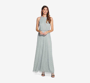 Petite Art Deco Beaded Blouson Dress With Halter Neckline In Frosted Sage