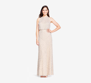Art Deco Beaded Blouson Dress With Halter Neckline In Silver Nude