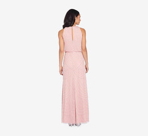 Art Deco Beaded Blouson Dress With Halter Neckline In Aurora Pink