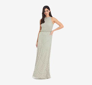 Art Deco Beaded Blouson Dress With Halter Neckline In Mint