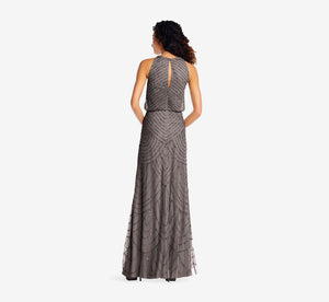 Petite Art Deco Beaded Blouson Dress With Halter Neckline In Lead