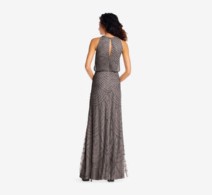 Art Deco Beaded Blouson Dress With Halter Neckline In Lead