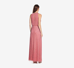 Art Deco Beaded Blouson Dress With Halter Neckline In Sugar Poppy
