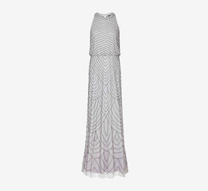 Art Deco Beaded Blouson Dress With Halter Neckline In Bridal Silver