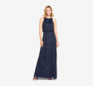 Art Deco Beaded Blouson Dress With Halter Neckline In Navy
