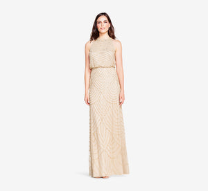 Art Deco Beaded Blouson Dress With Halter Neckline In Champagne Gold