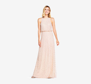 Petite Art Deco Beaded Blouson Dress With Halter Neckline In Blush