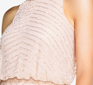 Art Deco Beaded Blouson Dress With Halter Neckline In Blush