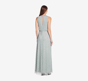Art Deco Beaded Blouson Dress With Halter Neckline In Frosted Sage