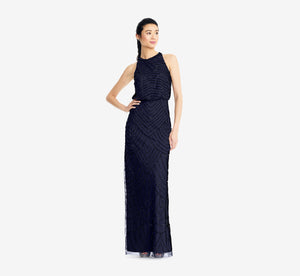 Art Deco Beaded Blouson Dress With Halter Neckline In Navy Black