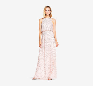 Art Deco Beaded Blouson Dress With Halter Neckline In Blush Gold