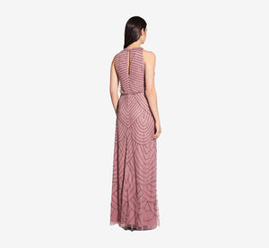 Art Deco Beaded Blouson Dress With Halter Neckline In Rose Mercury