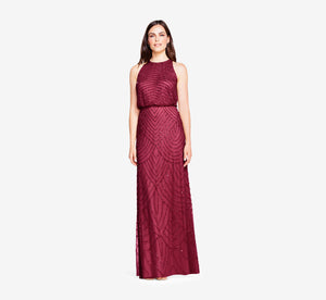 Art Deco Beaded Blouson Dress With Halter Neckline In Burgundy Glow