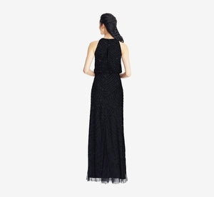 Petite Art Deco Beaded Blouson Dress With Halter Neckline In Black Black