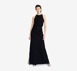 Art Deco Beaded Blouson Dress With Halter Neckline In Black Black