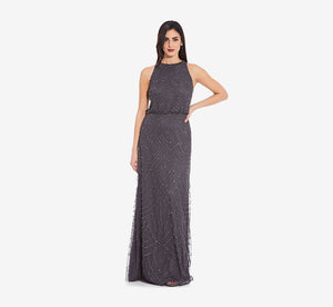 Art Deco Beaded Blouson Dress With Halter Neckline In Gunmetal