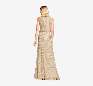 Petite Art Deco Beaded Blouson Dress With Halter Neckline In Nude