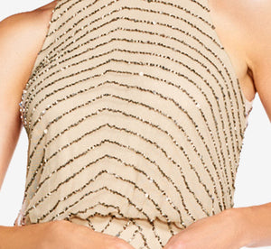 Art Deco Beaded Blouson Dress With Halter Neckline In Nude