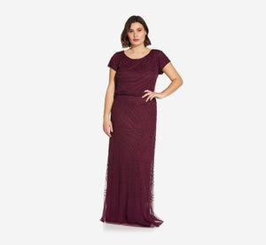 Plus Size Short Sleeve Beaded Blouson Gown In Cassis