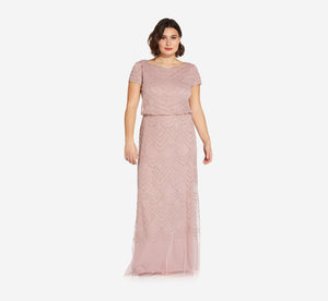 Plus Size Short Sleeve Beaded Blouson Gown In Dusted Petal Silver