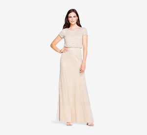 Short Sleeve Beaded Blouson Gown In Silver Nude