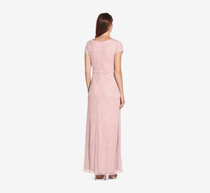 Short Sleeve Beaded Blouson Gown In Aurora Pink