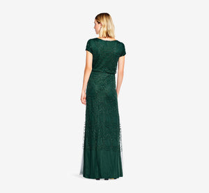 Petite Short Sleeve Beaded Blouson Gown In Dusty Emerald