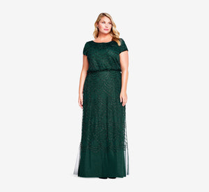 Plus Size Short Sleeve Beaded Blouson Gown In Dusty Emerald