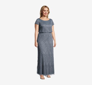 Plus Size Short Sleeve Beaded Blouson Gown In Dusty Blue