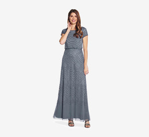 Short Sleeve Beaded Blouson Gown In Dusty Blue
