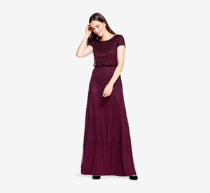 Petite Short Sleeve Beaded Blouson Gown In Cassis
