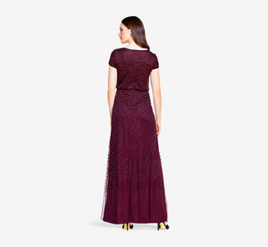 Short Sleeve Beaded Blouson Gown In Cassis