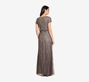 Short Sleeve Beaded Blouson Gown In Lead