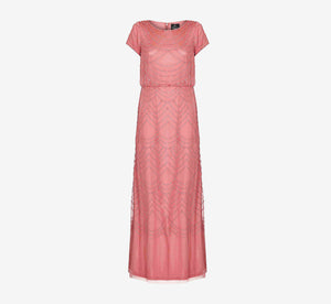 Short Sleeve Beaded Blouson Gown In Sugar Poppy