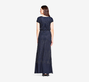 Petite Short Sleeve Beaded Blouson Gown In Navy