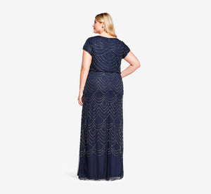 Plus Size Short Sleeve Beaded Blouson Gown In Navy