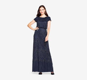 Short Sleeve Beaded Blouson Gown In Navy