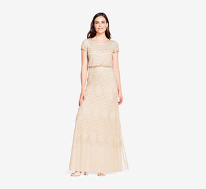Petite Short Sleeve Beaded Blouson Gown In Champagne Gold