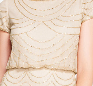 Short Sleeve Beaded Blouson Gown In Champagne Gold