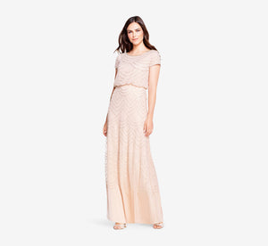 Petite Short Sleeve Beaded Blouson Gown In Blush