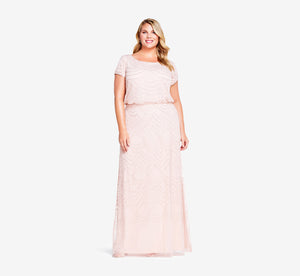 Plus Size Short Sleeve Beaded Blouson Gown In Blush