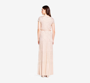 Short Sleeve Beaded Blouson Gown In Blush