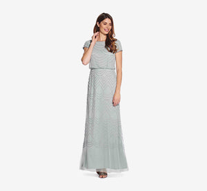 Short Sleeve Beaded Blouson Gown In Frosted Sage