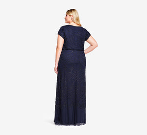 Plus Size Short Sleeve Beaded Blouson Gown In Navy Black