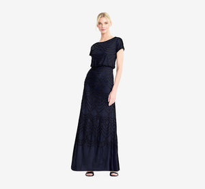 Short Sleeve Beaded Blouson Gown In Navy Black