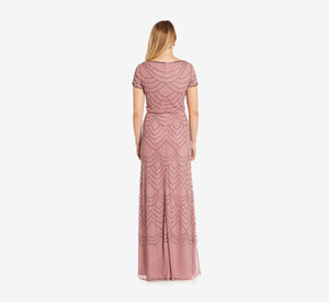 Short Sleeve Beaded Blouson Gown In Rose Mercury