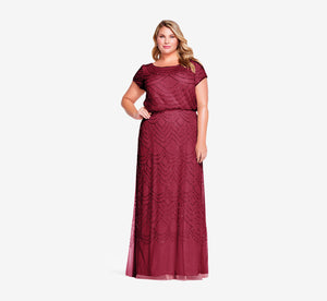 Plus Size Short Sleeve Beaded Blouson Gown In Burgundy Glow
