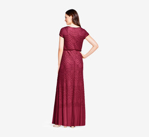 Short Sleeve Beaded Blouson Gown In Burgundy Glow