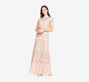 Short Sleeve Beaded Blouson Gown In Taupe Pink