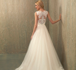Paisley Tulle Platinum Wedding Dress With Lace Bodice In Ivory Ivory Nude